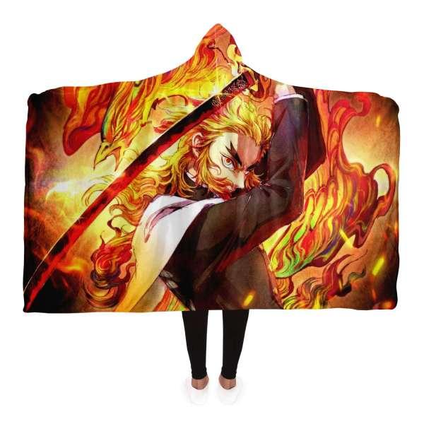 Demon Slayer Kyojuro Rengoku 3D Hooded Blanket New Design
