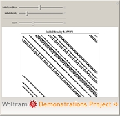 """Phase Transitions in ECA Rule 184"" from the Wolfram Demonstrations Project"