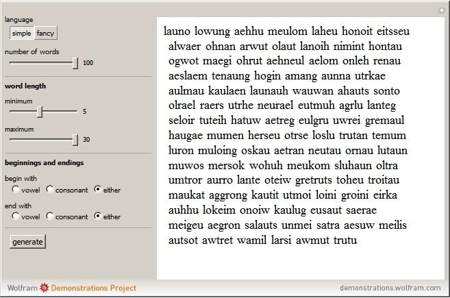 Random Word Generator for Fictional Languages