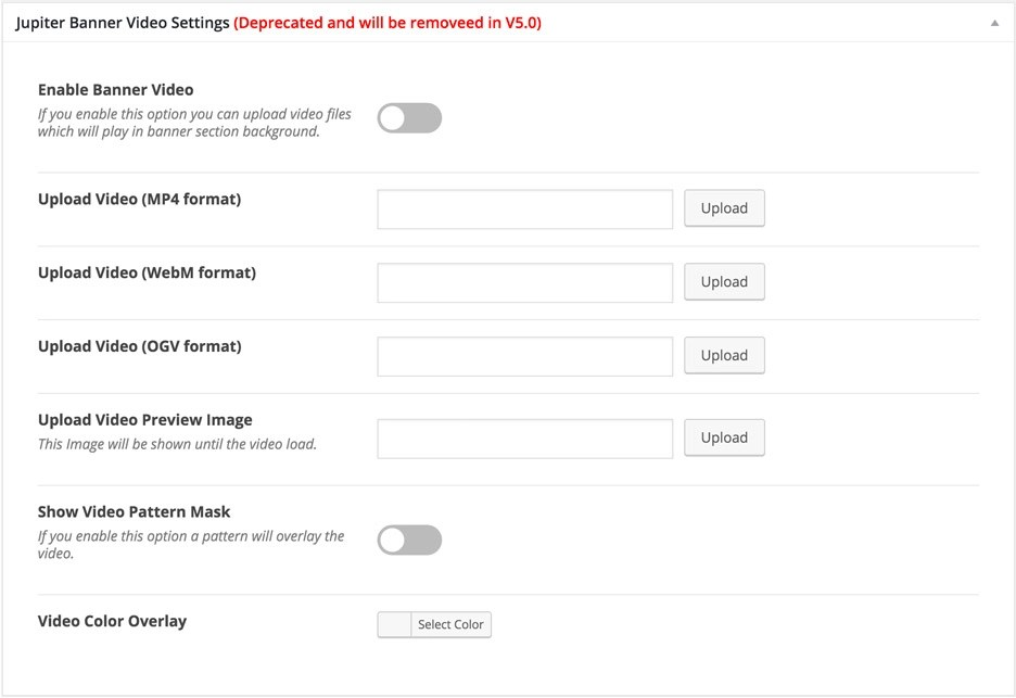 Jupiter Video Banner Settings