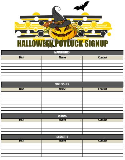 Halloween Potluck Sign Up Sheet Suyhi Margarethaydon Com