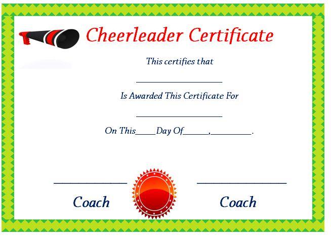 Printable Cheer Certificates