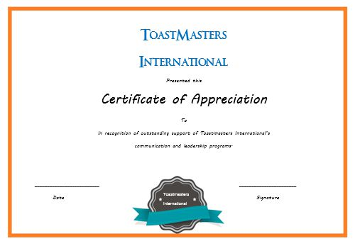 Certificate Of Appreciation Template Toastmasters Images