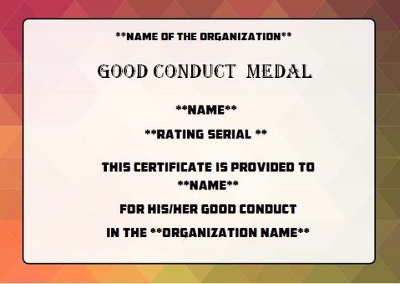 Conduct Medal Good Template Army