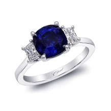 Classic cushion cut blue sapphire and diamond engagement ring