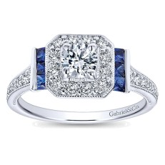 Heirloom inspired princess cut blue sapphire and diamond engagement ring