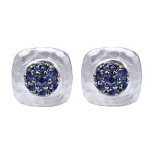 Sterling silver pave blue sapphire hammered stud earrings