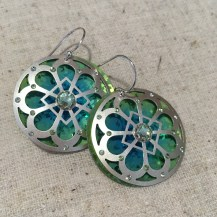 Holly Yashi Silver/Green Morning Light Earrings $85