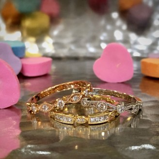 $750-1628 Gold and Diamond Stack Rings