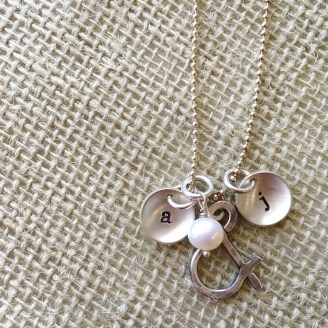 Sterling ampersand and pearl pendant $64 with letter charms $29 each