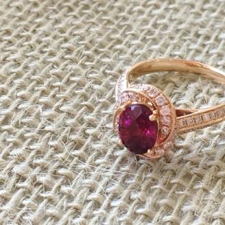 Rose gold rubelite and diamond ring $7148