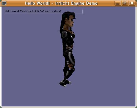 HelloWorldの実行画面。真ん中にいるのはシドニー嬢。