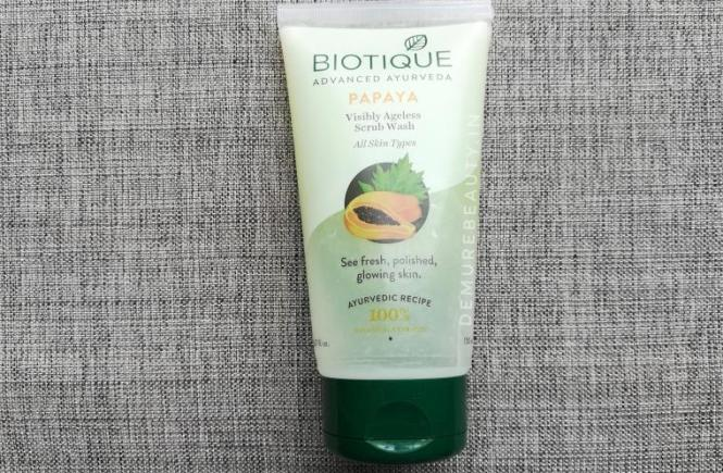 biotique papaya visibly ageless scrub wash review