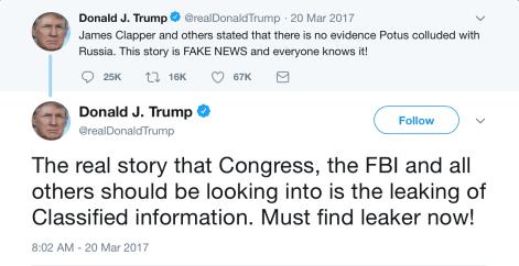 Trump Tweet Comey hearing Clapper Leaker BOTH.png