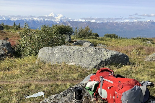 Backpack on Kesugi Ridge with Denali in the background