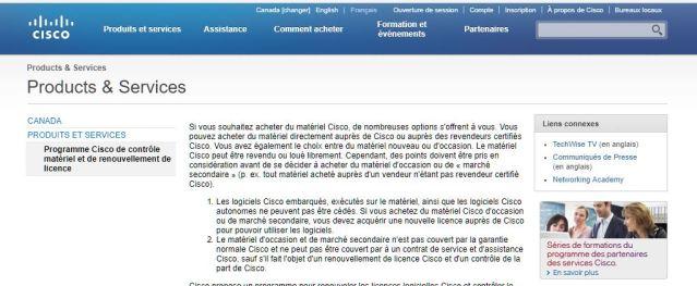 D'après le site web de Cisco : Le matériel Cisco peut être revendu ou loué librement