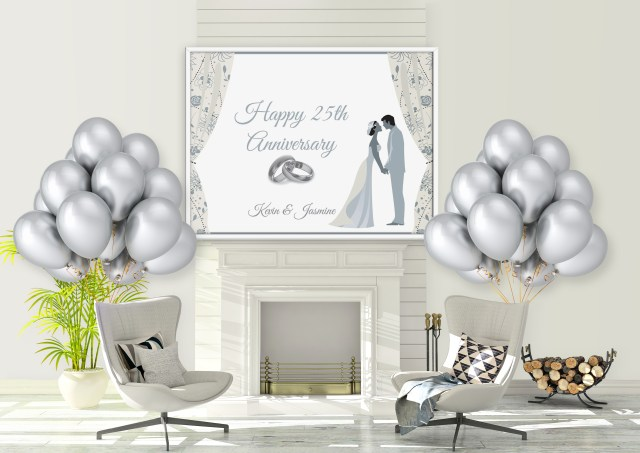 25Th Wedding Anniversary Decorations 25th Silver Wedding Anniversary Banner Balloons Party Decorations