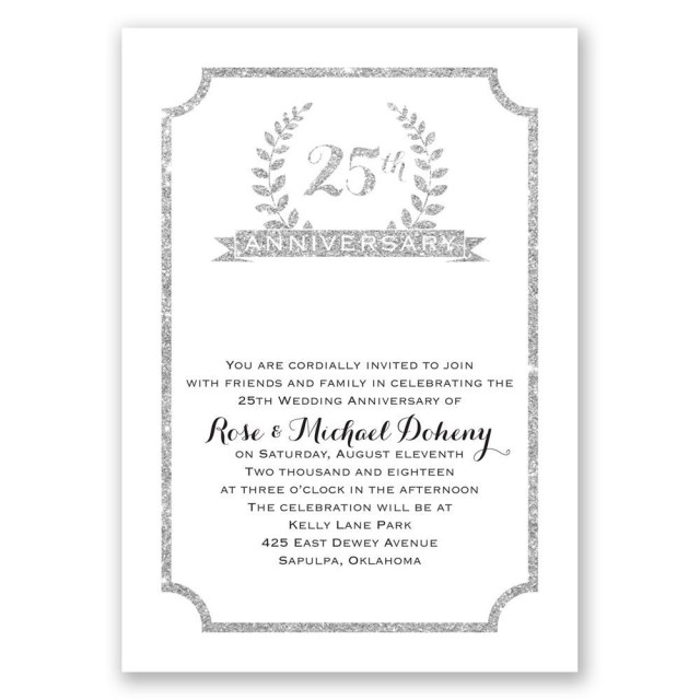 25Th Wedding Anniversary Invitations 25th Crest Faux Glitter Anniversary Invitation Invitations Dawn