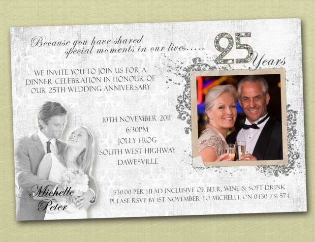 25Th Wedding Anniversary Invitations 25th Wedding Anniversary Invitations Wording Photo Personalised