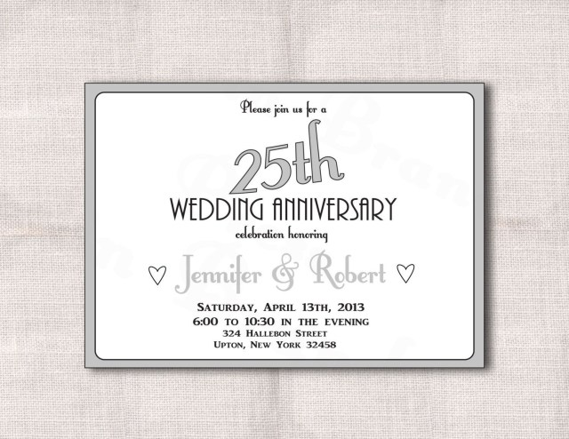 25Th Wedding Anniversary Invitations Surprise 25th Wedding Anniversary Invitation Templates Wedding