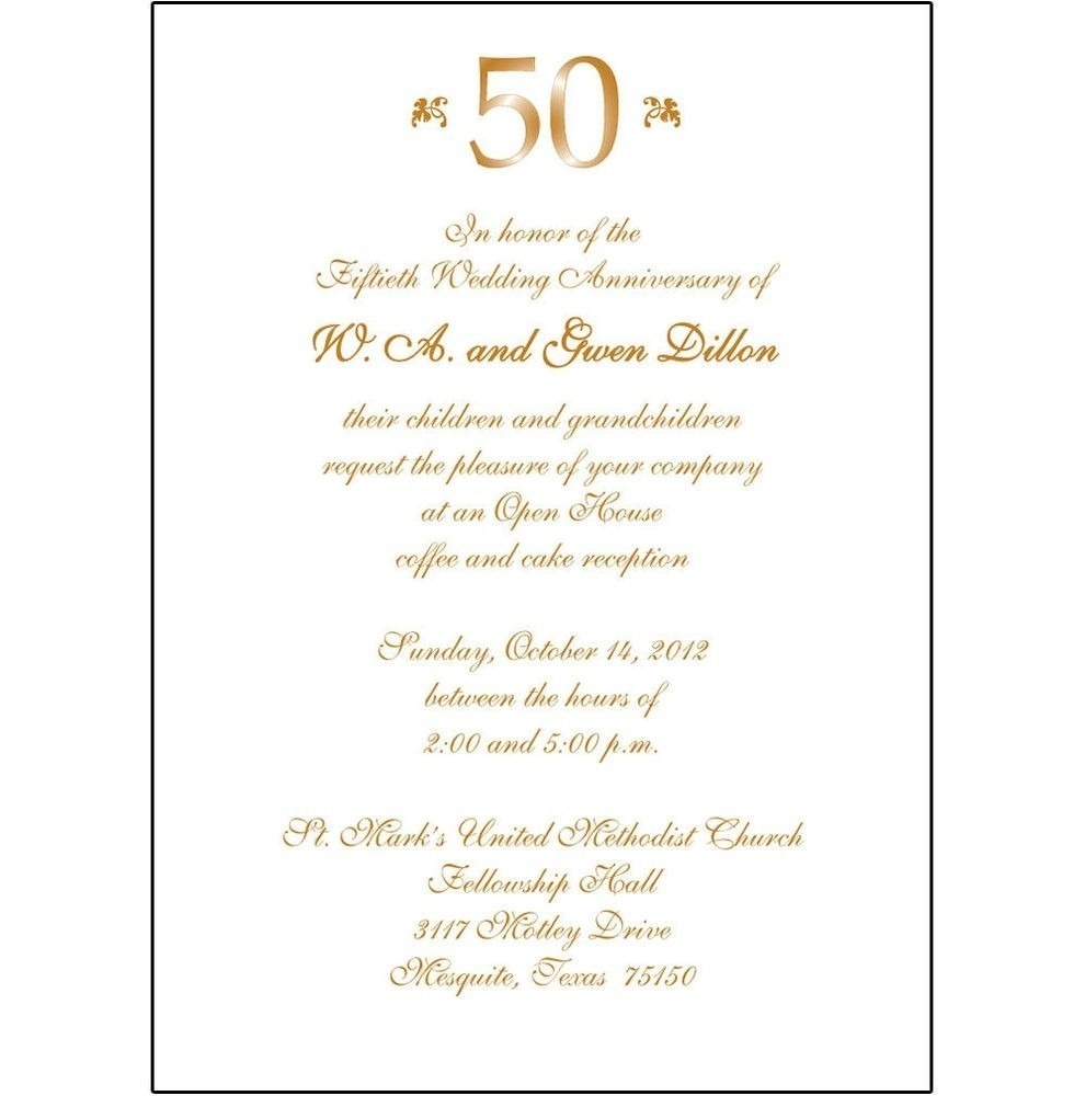 50th Wedding Anniversary Invite Wording