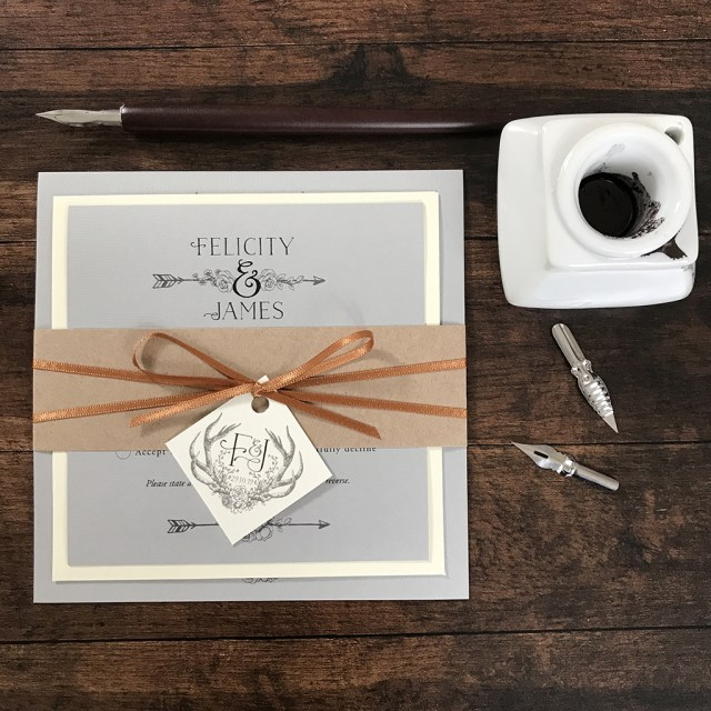 Antler Wedding Invitations Felicity Antlers Wedding Invitation Set Eaton Wedding Stationery