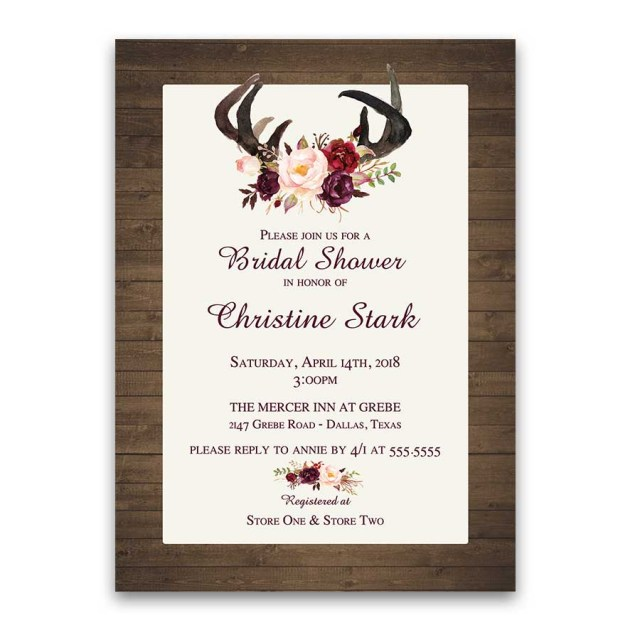 Antler Wedding Invitations Floral Bridal Shower Invitations Deer Antlers Burgundy