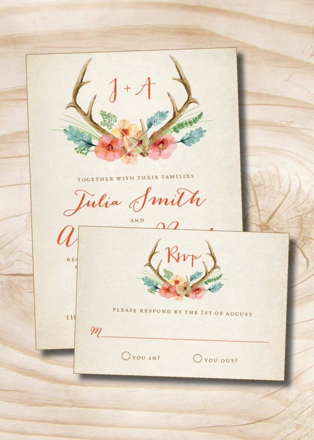 Antler Wedding Invitations Rustic Floral Antlers Wedding Invitation And Response Card