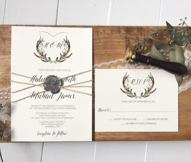 Antler Wedding Invitations Rustic Wedding Invitation Antler Wedding Crest Wax Seal One Day