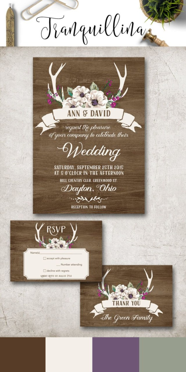 Antler Wedding Invitations Rustic Wedding Invitation Winter Wedding Invitation Floral Deer