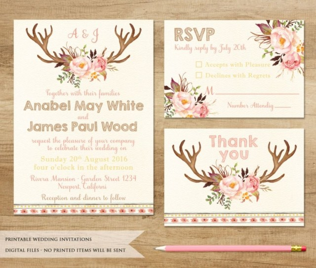 Antler Wedding Invitations Stirring Antler Wedding Invitations Rustic Deer Kapowphotogifts