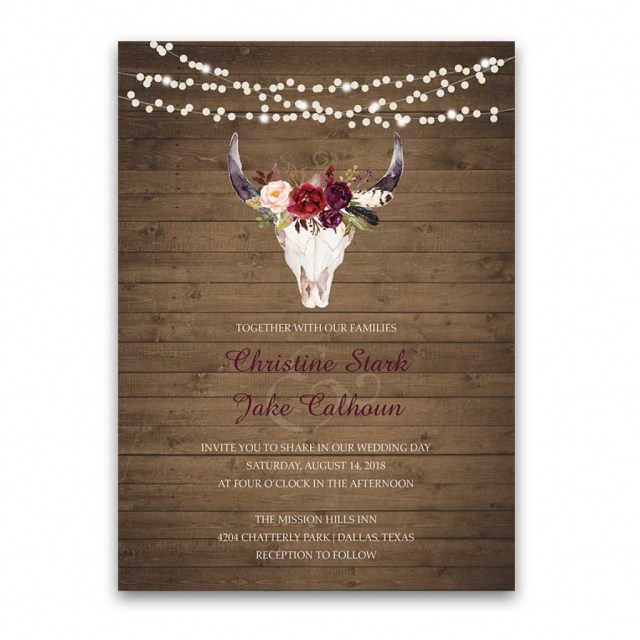 Antler Wedding Invitations Wedding Invitations Floral Deer Skull Antler Burgundy Blush