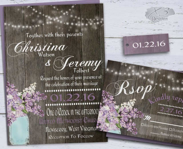 Barn Wedding Invitations Rustic Wedding Invitation Country Mason Jar Wedding Invitations
