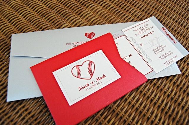 Baseball Wedding Invitations Baseball Heart Invitations Response Card Holder Softball
