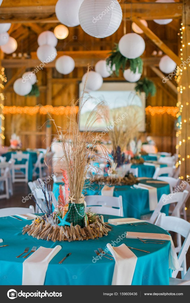 Beach Wedding Reception Decorations Beach Themed Ocean Wedding Reception Decorations Stock Photo