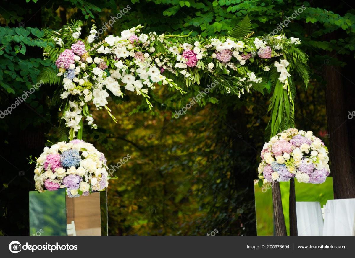 Beautiful Wedding Decorations Beautiful Wedding Decorations Wedding Arch Bouquets Ceremony Stock