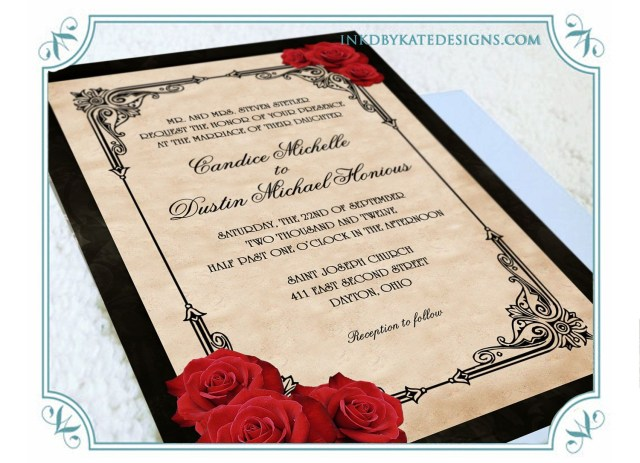 Black And Red Wedding Invitations Printable Vintage Black And Red Romantic Rose Quinceanera Or Wedding