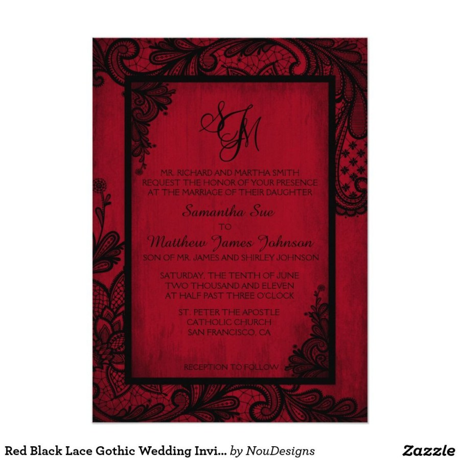 Black And Red Wedding Invitations Red Black Lace Gothic Wedding Invitation Card Christian And Anna