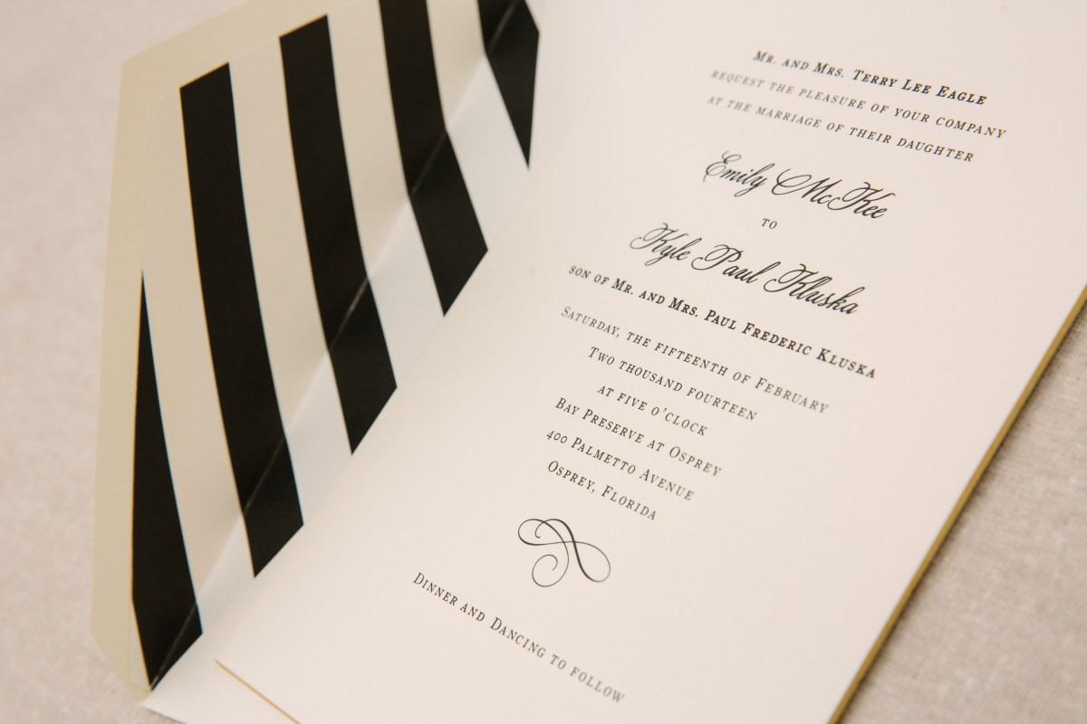 Black And White Striped Wedding Invitations Black And White Striped Wedding Invitation Elizabeth Anne Designs