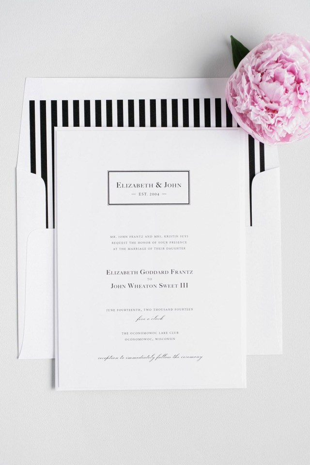 Black And White Striped Wedding Invitations Black White Striped Monogram Wedding Invitations Member Board