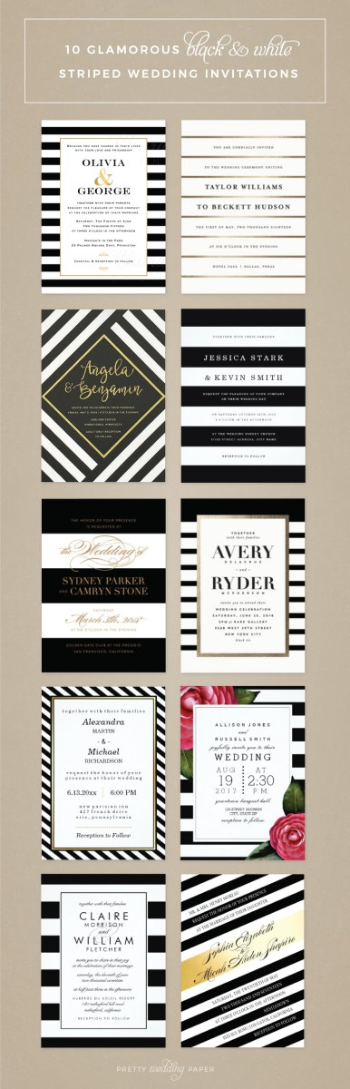 Black And White Wedding Invitations Top 10 Most Glamorous Black White Striped Wedding Invitations