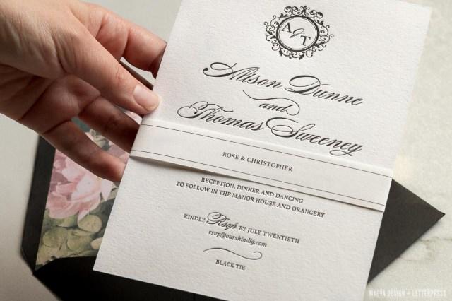 Black Tie Wedding Invitations Black Tie Magva Design Letterpress