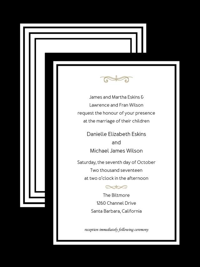 Black Tie Wedding Invitations Black Tie Wedding Invitation