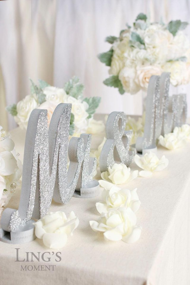 Bride Groom Wedding Table Decorations Mr And Mrs Glitter Letters Sweetheart Table Decorations Silver