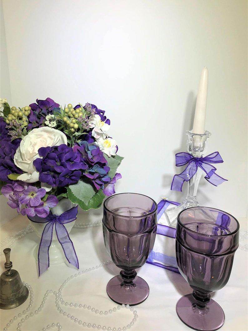 Bride Groom Wedding Table Decorations Purple Wedding Decor Bride Groom Table Centerpieces Wedding Etsy