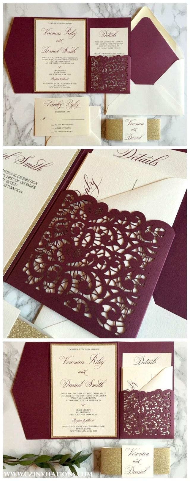 Burgundy Wedding Invitations Burgundy And Gold Laser Cut Pocket Wedding Invitation Wedding