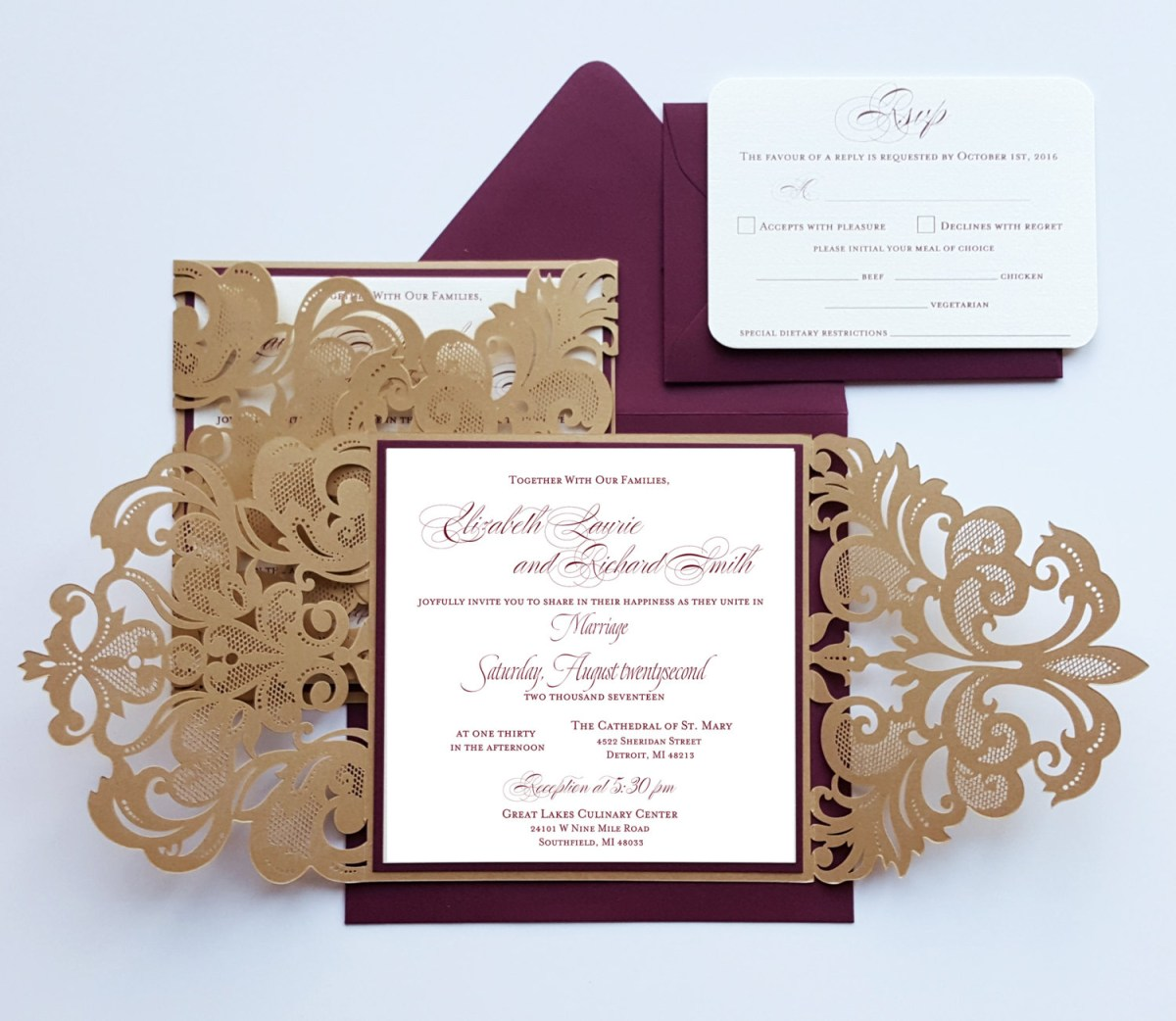 Burgundy Wedding Invitations Burgundy Gold Lasercut Wedding Invitation Card Broadway Design