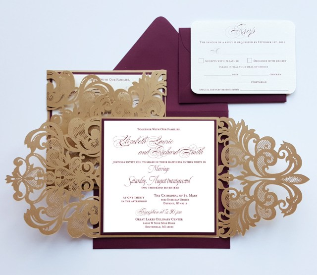 Burgundy Wedding Invitations Burgundy Gold Lasercut Wedding Invitation Card Broadway Design