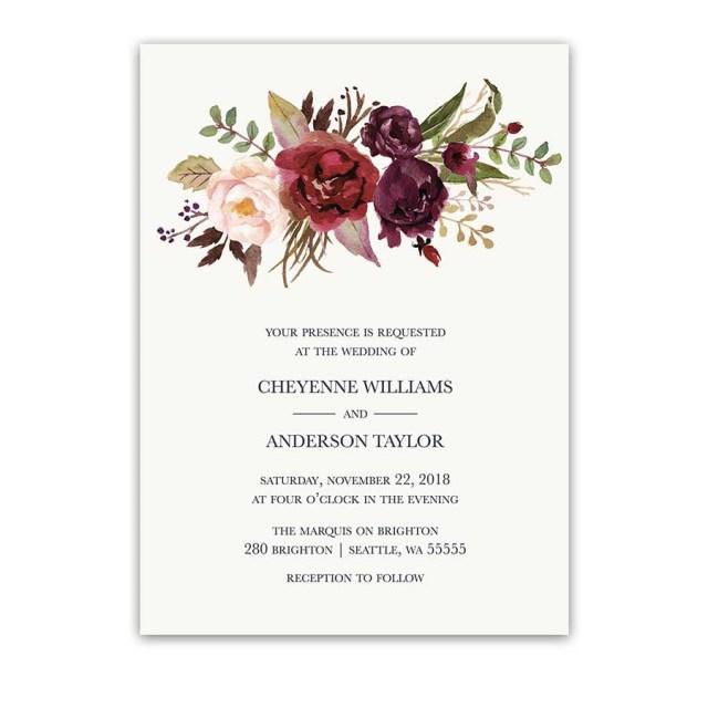 Burgundy Wedding Invitations Burgundy Wedding Invitations Watercolor Florals Blush Wine