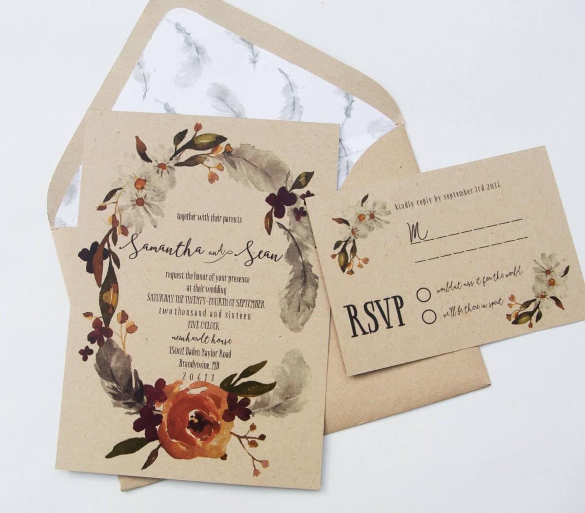 Burgundy Wedding Invitations Fall Boho Wedding Invitation Autumn Wedding Invite Burgundy Etsy